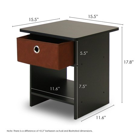 Furinno 10004 End Table/ Nightstand Storage Shelf with Bin Drawer - Maple Contemporary Night Table
