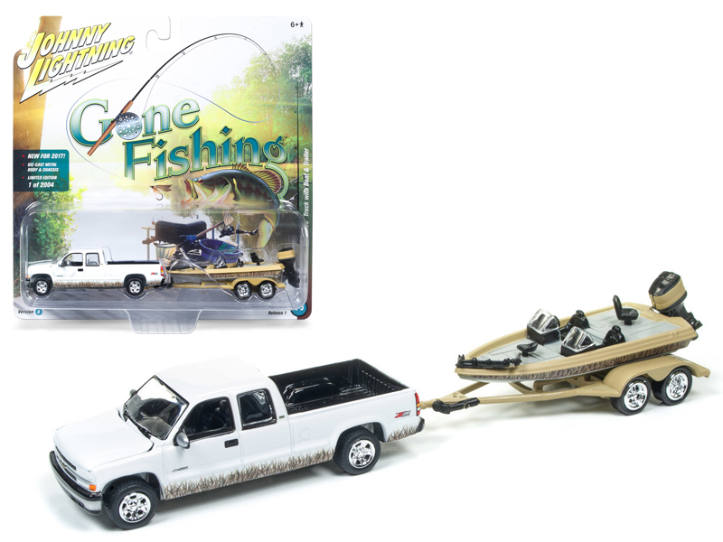 "2002 Chevrolet Silverado Pickup Truck White with Boat and Trailer ""Gone Fishing""... by Johnny Lightning"