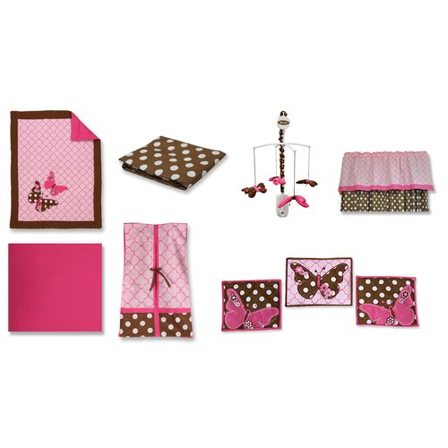 Bacati Butterflies 10 Piece Crib Bedding Set, Pink