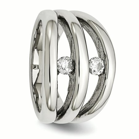 Stainless Steel Polished CZ Ring 9 Size - image 5 de 7