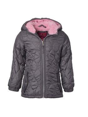 Pink Platinum Quilted jacket with sherpa lined hood (little girls & big girls)