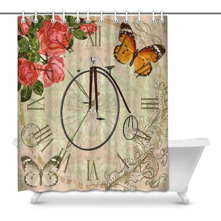 POP Vintage Country House Image with Roses, Butterflies and Old Bicycle Bathroom Shower Curtain Decor Set 60x72 inch - image 1 of 1