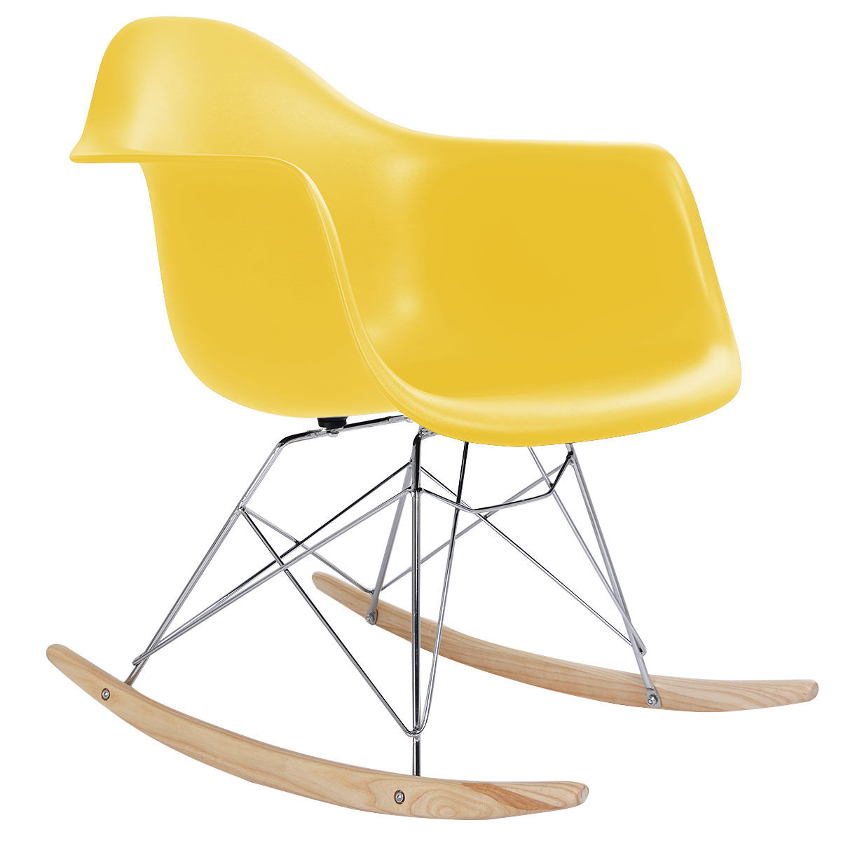 GHP Yellow Plastic Beech Wood Rocker Runner Mid-Century Look Shell Arm Rocking Chair