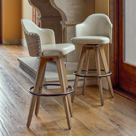 Corvus Metz Mid Century Bonded Leather Swivel Bar Stool Set Of 2