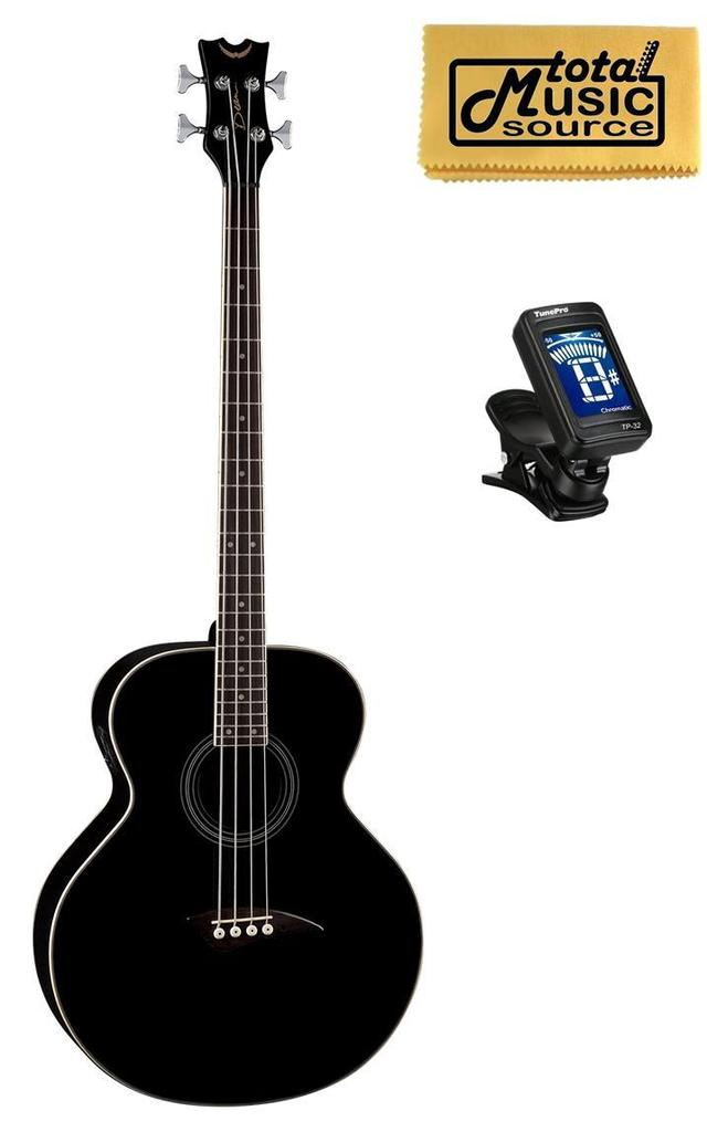 Dean 4 String Acoustic Electric Bass Classic Black FREE TUNER, CLOTH ,EAB CBK PACK by Dean