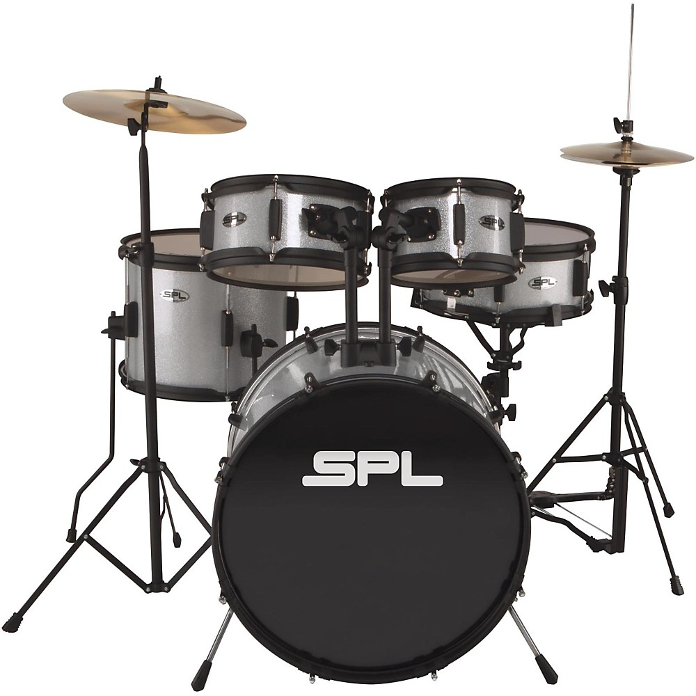 Sound Percussion Labs Kicker Pro - 5 Piece Drum Set with Stands, Cymbals, and Throne Silver Metallic Glitter