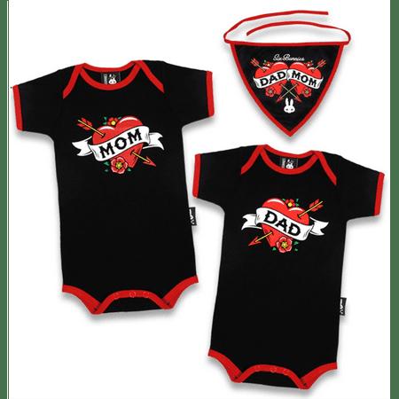 Mom & Dad Heart Tattoo 3 pc Gift Set Baby Unisex Boy Girl Infant 2 Bodysuits Bib