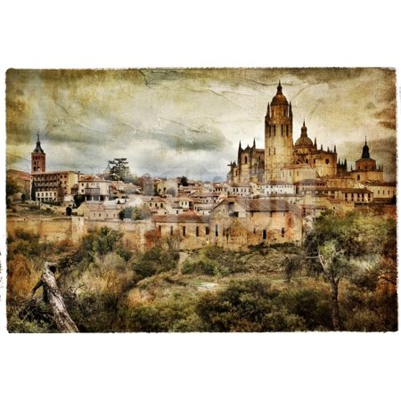 Segovia - Medieval City Of Spain - Artistic Retro Styled Picture Print Wall Art By Maugli-l
