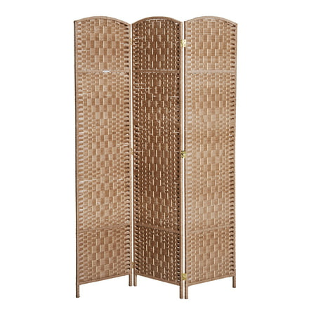 Wood Room Divider Screen (HOMCOM 6' Tall Wicker Syle Paper 3Panel Room Divider Privacy Screen - Natural Blond Wood )