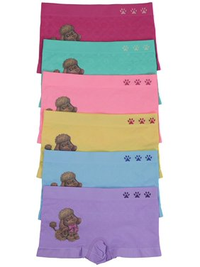 ToBeInStyle Girl's Pack of 6 Long Boyshorts Brown Poodle