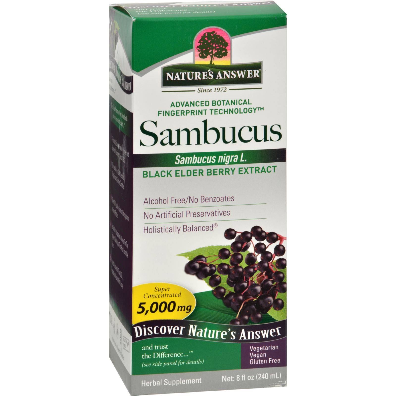Nature's Answer Sambucus nigra Black Elder Berry Extract - 8 fl oz
