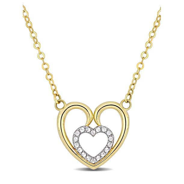 10kt Yellow Gold Double Heart Necklace