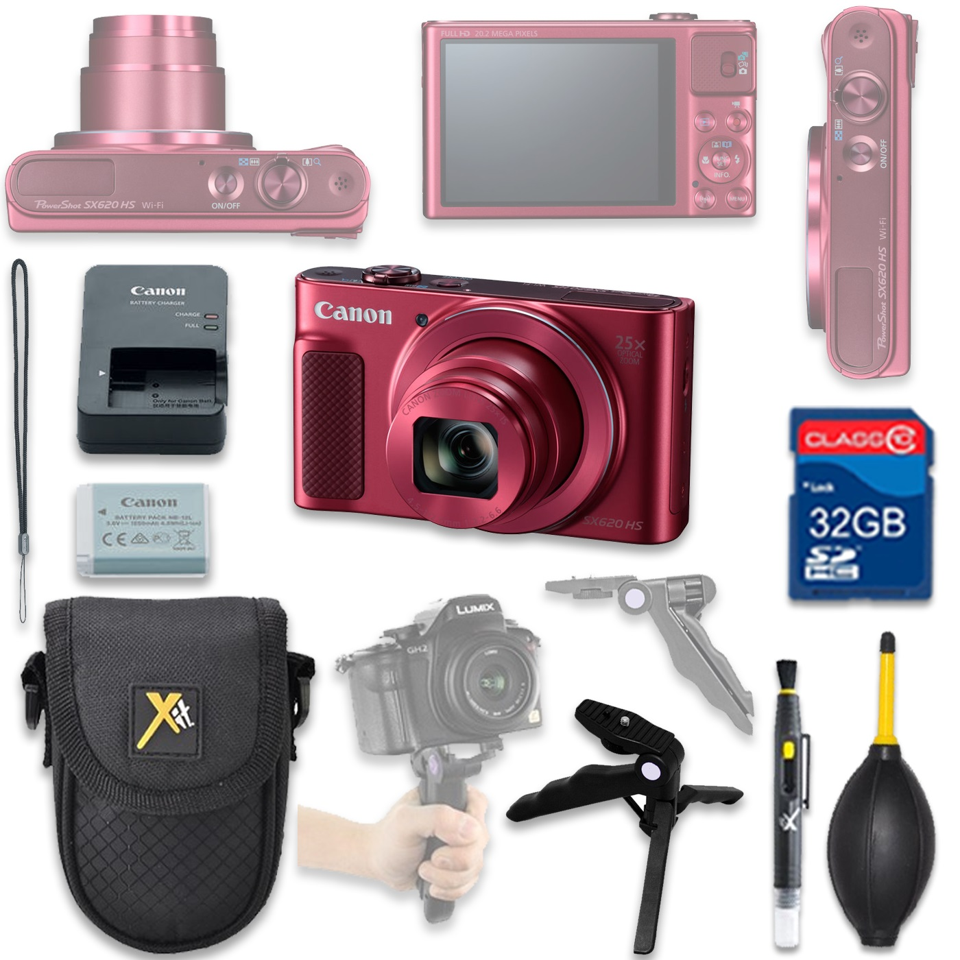 Canon PowerShot SX620 HS Digital Camera(red) with 32GB SD Memory Card + Accessory Bundle