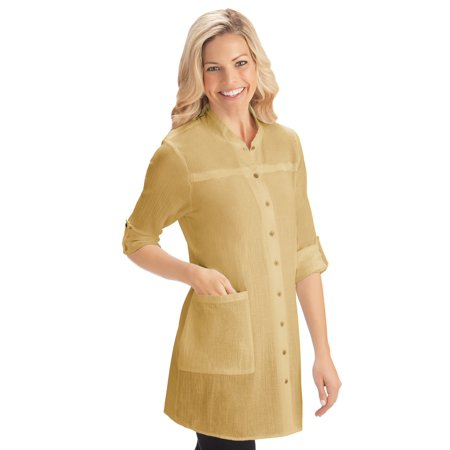 Women's Crinkle Gauze Pocket Tunic Top with Roll Tab Sleeves for Work, Casual Attire, Large, Khaki - Great Gatsby Attire For Women