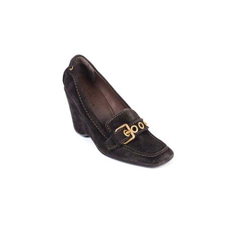 Car Shoe By Prada Brown Suede Grommet Buckle Wedge Heels