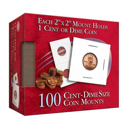Cent-Dime 2x2 Coin Mount: 100 Count