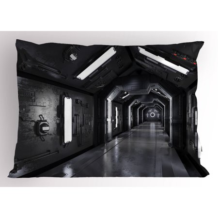 Outer Space Pillow Sham Dark Futuristic Corridor of Spaceship Adventure Technology Sci Fi Art Prints, Decorative Standard Size Printed Pillowcase, 26 X 20 Inches, Dark Grey, by