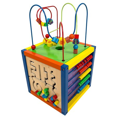 6-in-1 Play Cube Activity Center - Wood, 12 inch