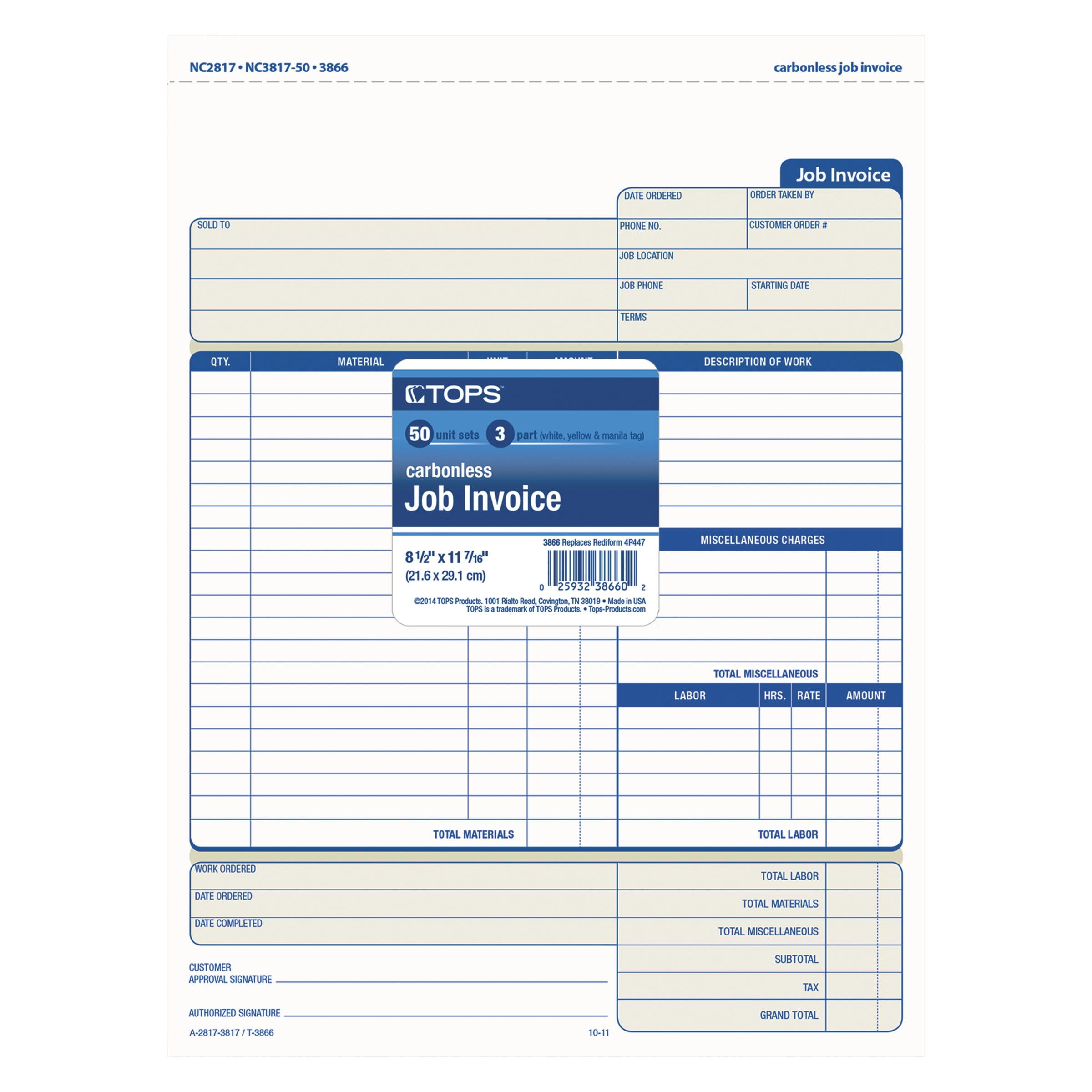 Tenant Receipt Excel Tops Snapoff Job Invoice Form  X  Part Carbonless  Receipt Pronunciation Audio Excel with Billing Invoice Pdf Tops Snapoff Job Invoice Form  X  Part Carbonless  Forms   Walmartcom Php Invoice Software