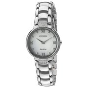 CITIZEN Women's Stainless Steel and Diamond Eco Drive Silver Tone Watch