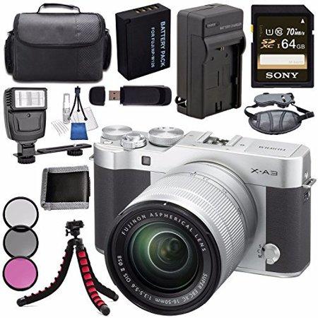 Fujifilm X-A3 Digital Camera w/ 16-50mm Lens (Silver) 16531635 + NP-W126 Lithium Ion Battery + External Rapid Charger + Sony 64GB SDXC Card + Case + Tripod + Flash + Card Reader + Card Wallet