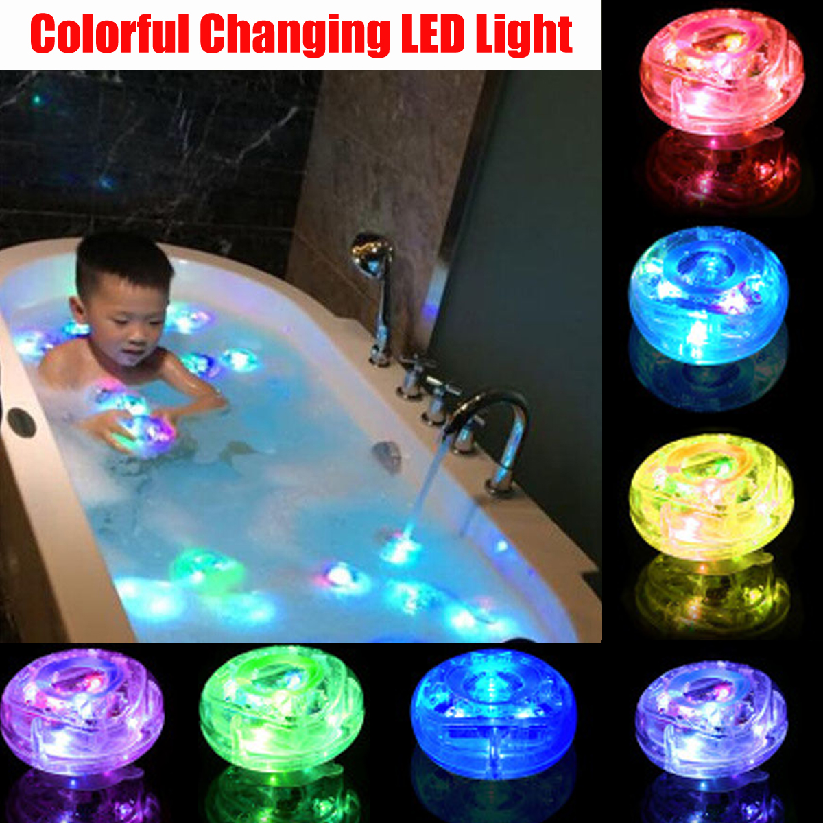 Grtsunsea 1/2pcs Bath Light Up Toys LED Lamp Waterproof Kids Baby Bathroom Accessories Shower Time Tub Swimming Pool Colorful Changing