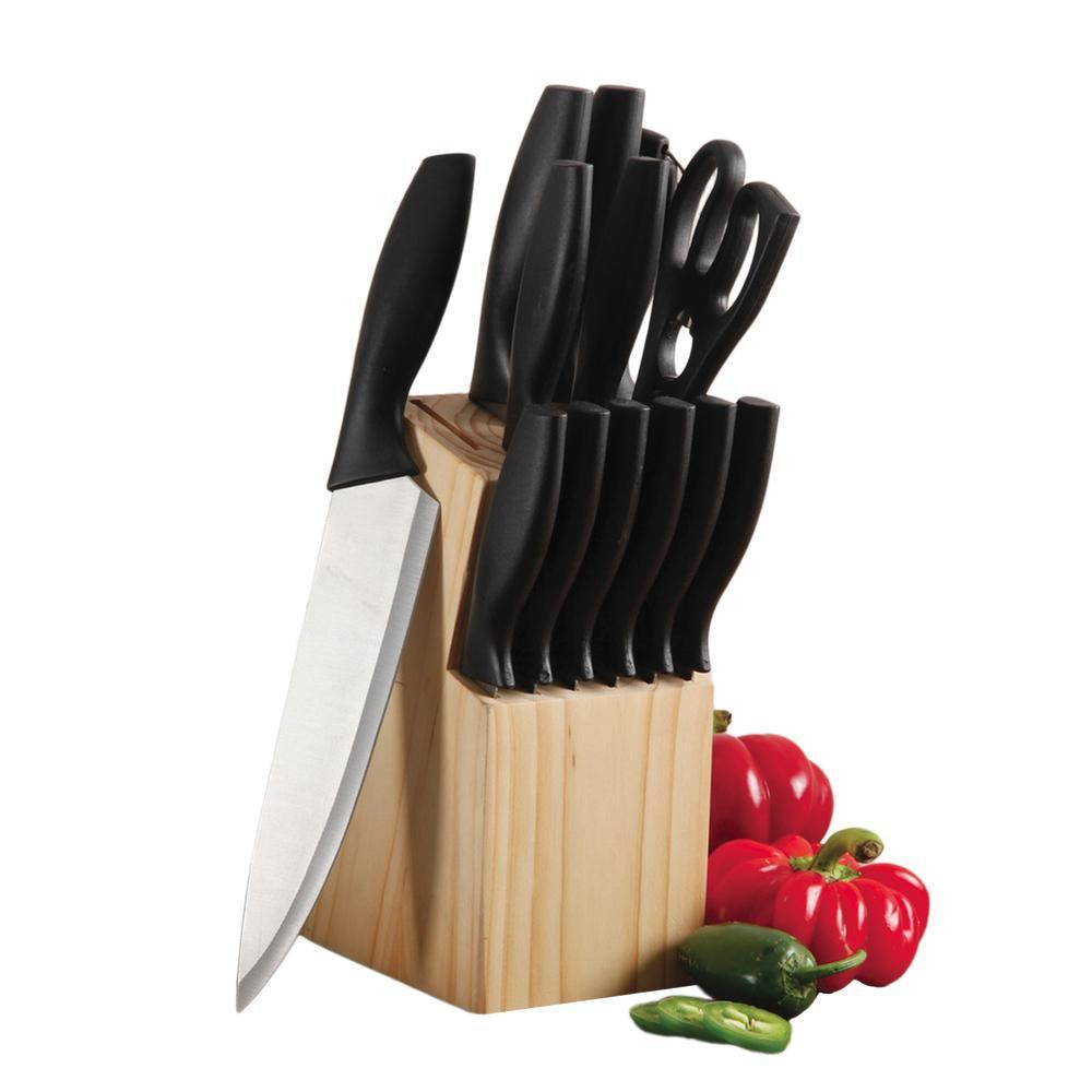 Gibsone Helston 14pc Stainless Steel Cutlery Set With Pine Wood Block