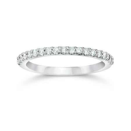 1/8ct 14k White Gold Diamond Engagement Band Wedding Stackable Prong Womens