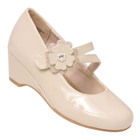 Rachel Shoes Girls Ivory Patent Floral Straps Wedge Mary Janes - Toms Ivory Wedges