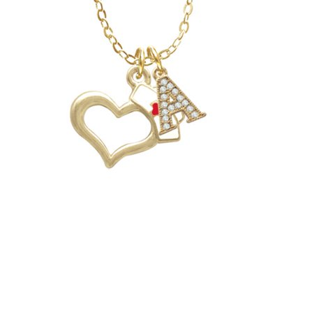 Gold Tone Open Heart with Nurse Hat - A - Gold Tone Crystal Initial Sophia Necklace, 18