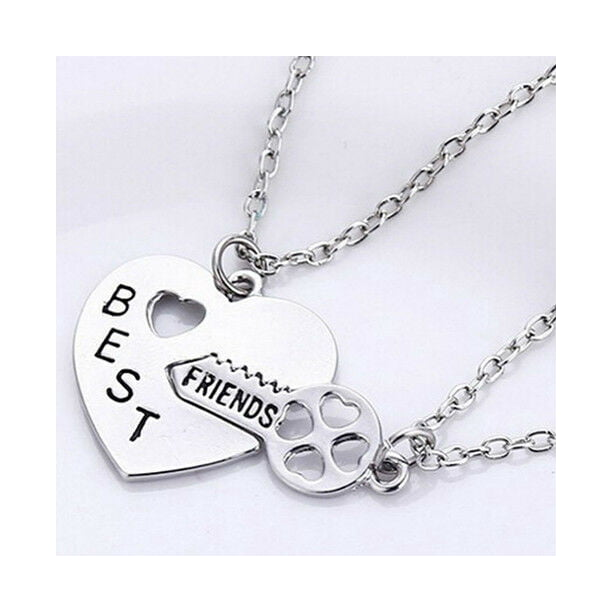 Nobrand Best Friend Friendship Necklace Heart Key Set Silver Pendant Couple Necklace Walmart Com Walmart Com