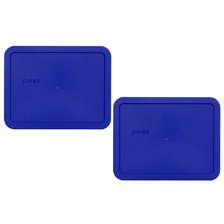 7211-PC 6 Cup Cobalt Blue Rectangle Food Storage Lid for Glass Dish (2, Cobalt Blue), Genuine Pyrex Replacement Lids By Pyrex 6 Cup Rectangle Storage