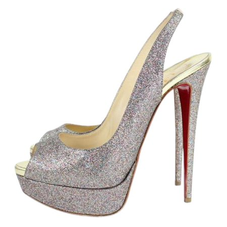 brand new 4bd27 1c584 Christian Louboutin - Glitter Lady Peep Strappy Open Toe ...
