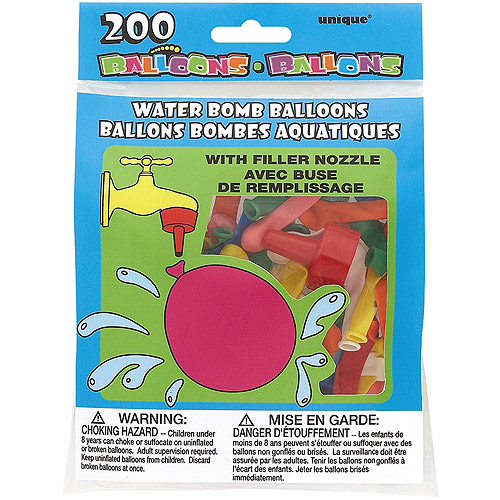 Water Bomb Balloons with Nozzle, 200-Pack, Multicolor