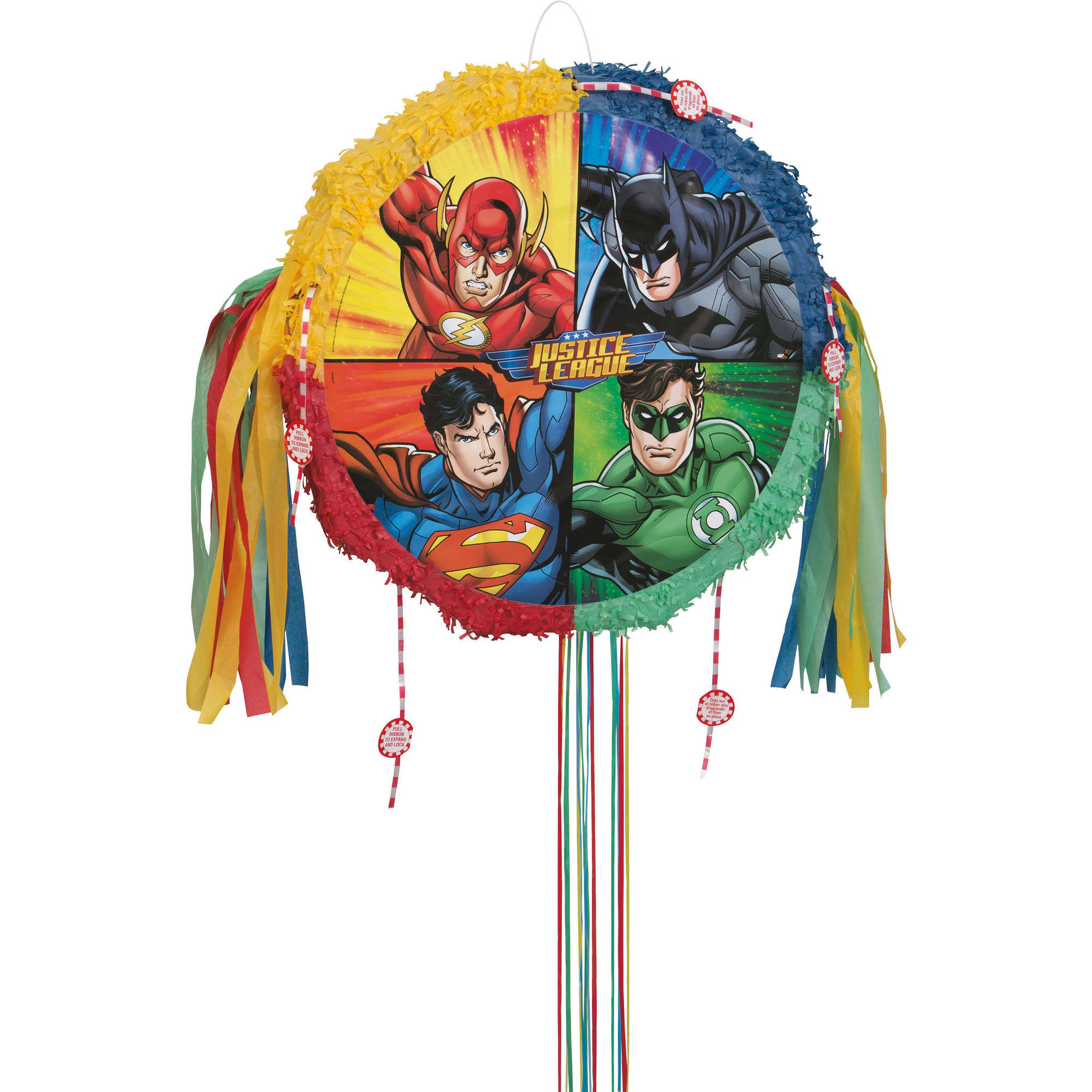 Justice League Pinata, Pull String, 19 x 18 in, 1ct