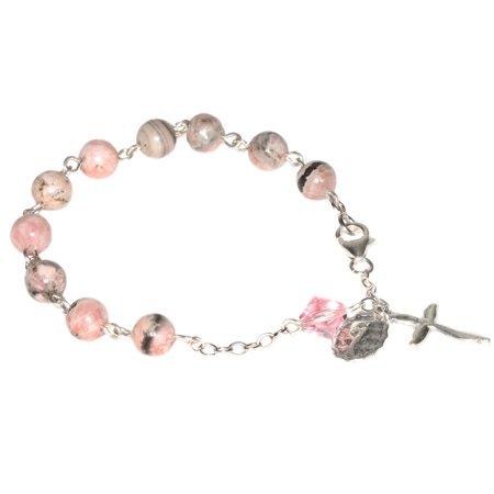 Sterling Silver Women's Rosary Bracelet made with Rhodochrosite Gemstones and Swarovski (Rhodochrosite Beads)