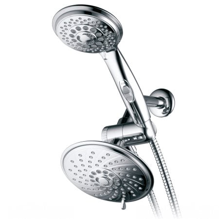 HotelSpa 30-Setting 3-way Rainfall Shower Head Combo with Patented ON/OFF Pause Switch and 5-7-foot Stretchable Stainless-Steel Hose, Chrome