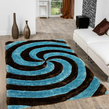 - Allstar Sky Blue Shaggy Area Rug with 3D Spiral Design. Contemporary Formal Casual Hand Tufted (5' x 7')