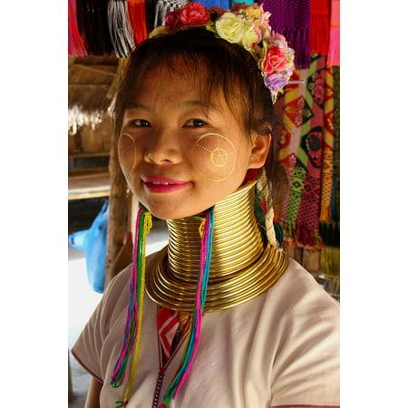 LAMINATED POSTER Female Fashion Young Karen Tribe Long Neck Woman Poster Print 24 x - Karen Hill Tribe Flower