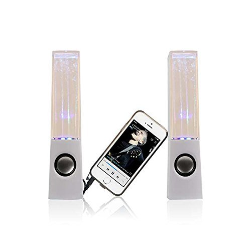 I-Kool WTR-Blck Original Water Dancing Speakers Super Charged Bass Extra Large Works with USB /Aux Cable, Black