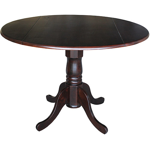 "International Concepts 42"" Round Dual-Drop Leaf Pedestal Table, Rich Mocha"