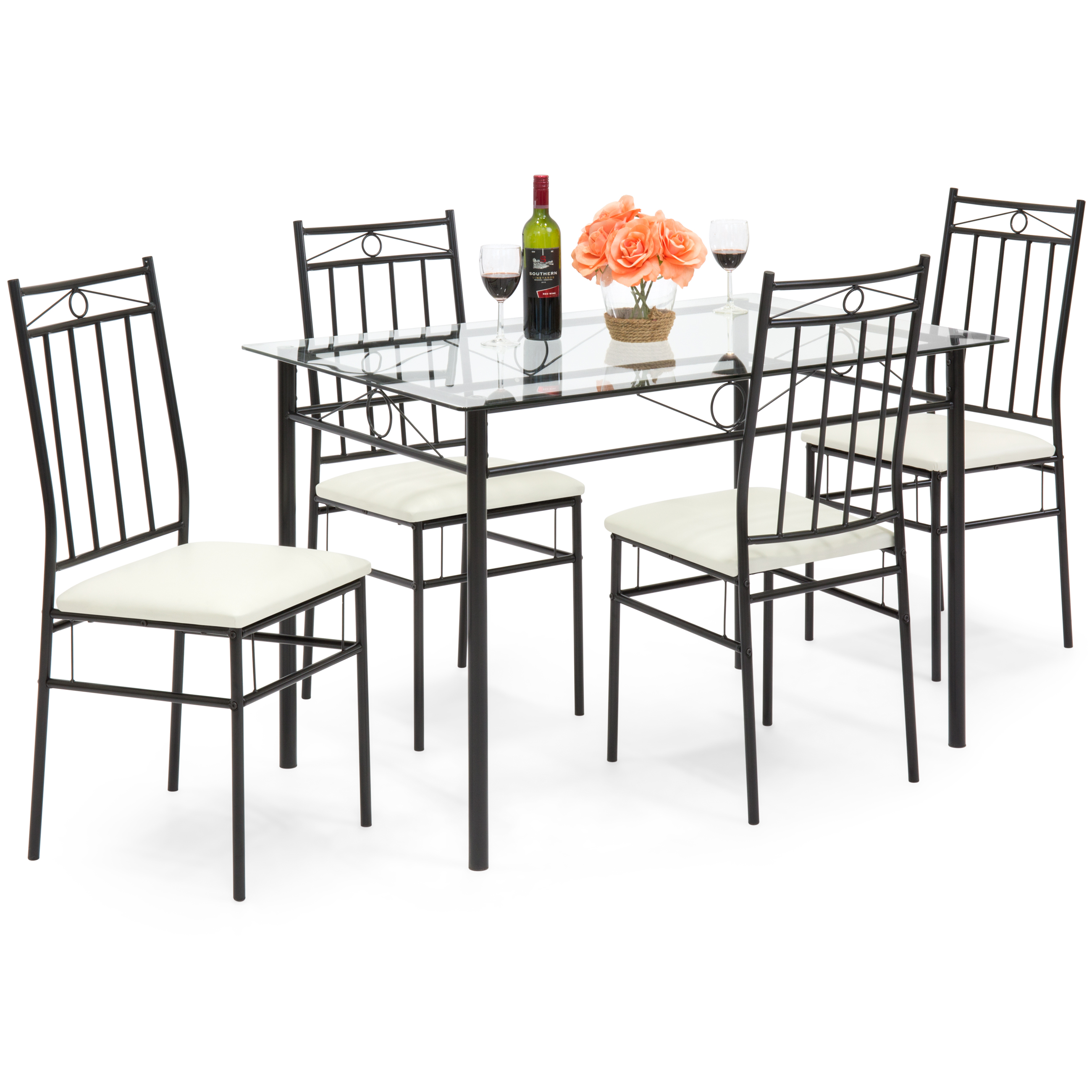 Best Choice Products 5-Piece Glass Table Dining Room Set w  Chairs (White) by Best Choice Products