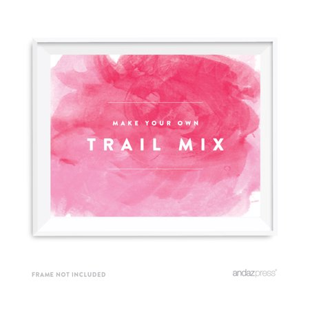Make Your Own Trail Mix Pink Watercolor Wedding Party Signs - Minted Wedding