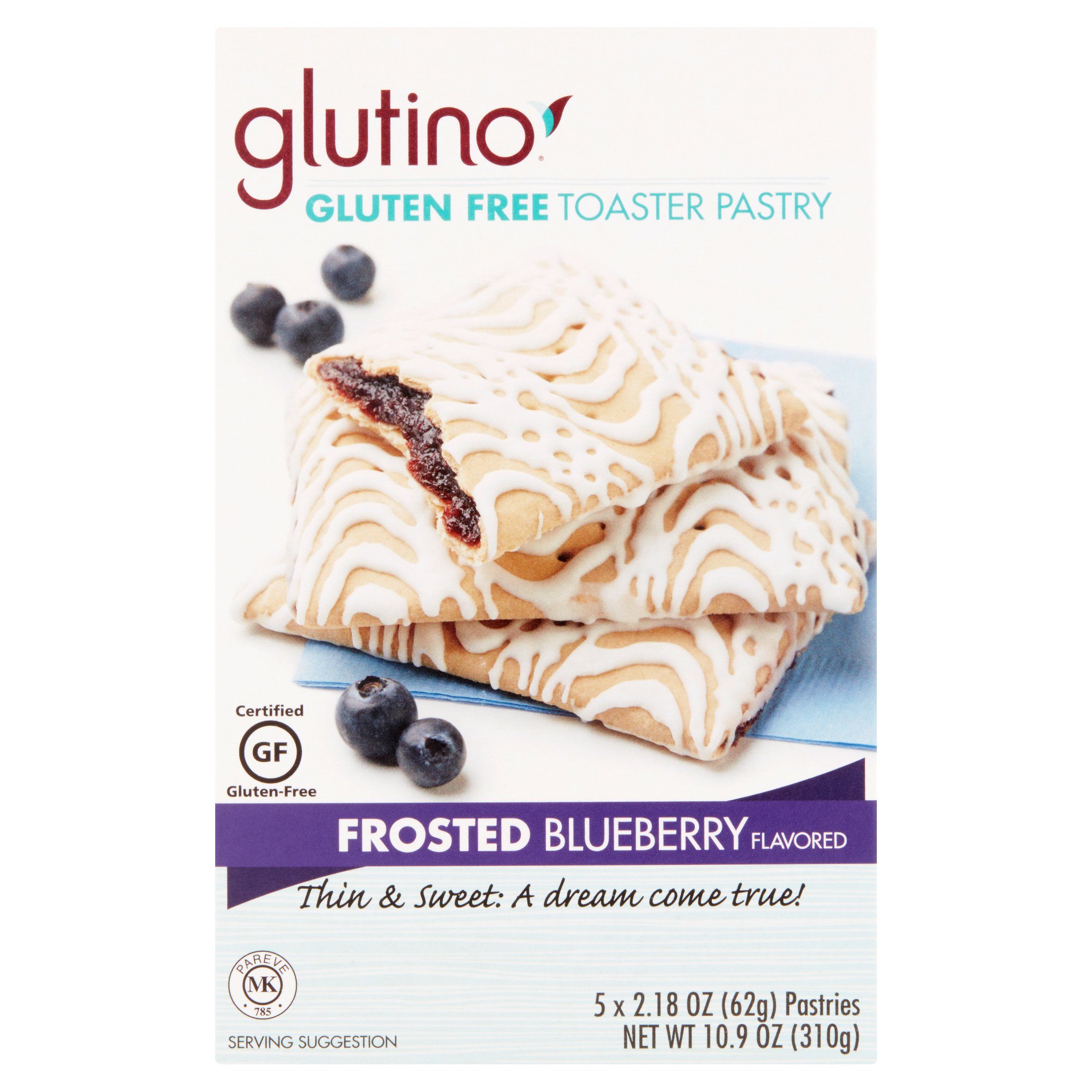 Glutino Frosted Blueberry Flavored Pastries, 2.18 oz, 6 pack by Glutino, a division of Boulder Brands USA, Inc.