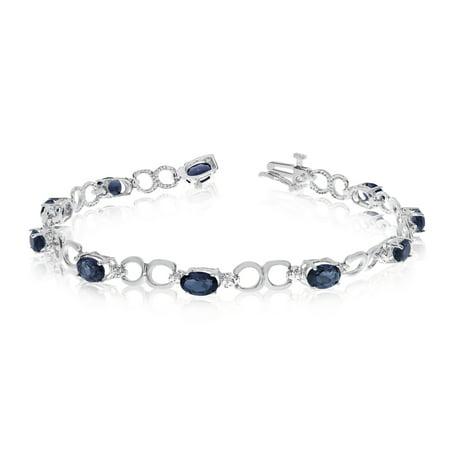 14k White Gold Oval Sapphire and Diamond Bracelet ()