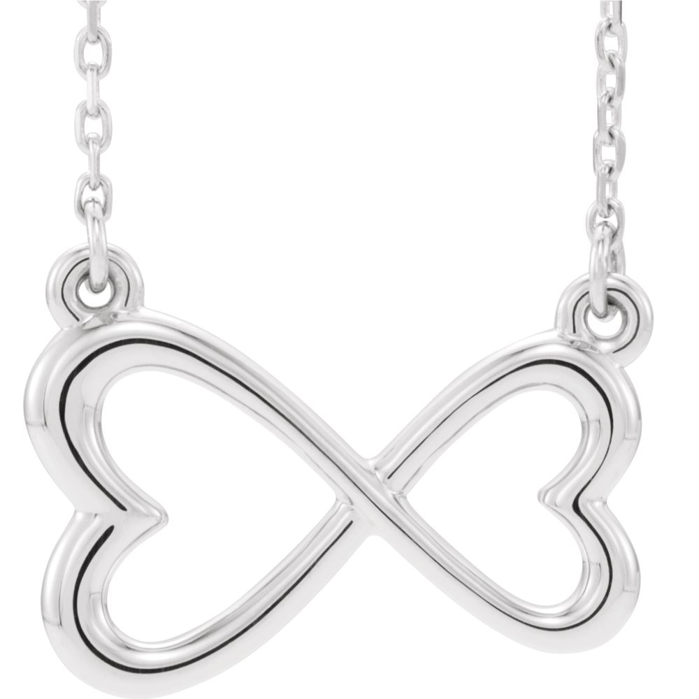 "Platinum 15.9x10.1mm Infinity Double Heart Pendant 16-18"" Necklace by"