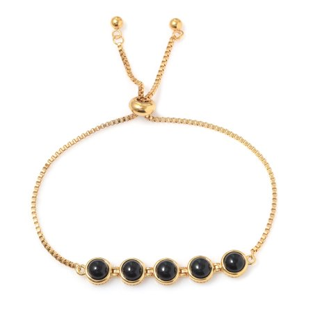 Black Onyx Magic Ball Bolo Tennis Bracelet for Women ION Plated 18K Yellow Gold Jewelry Adjustable Size (Mexican Onyx Bracelet)