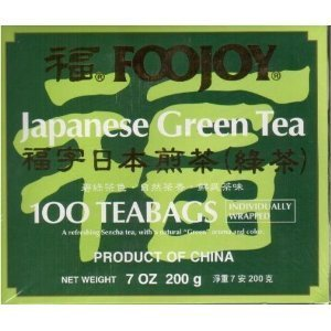 Foojoy Japanese Green Tea 100 Individually Wrapped Tea Bags (Pack of 3) ()