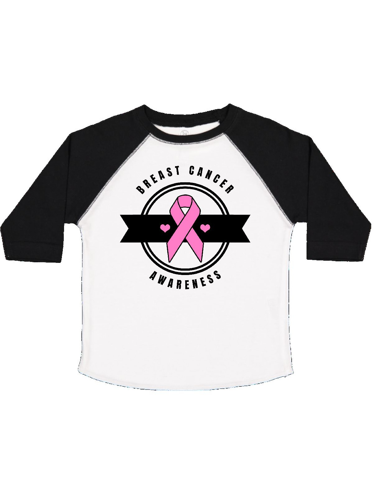 inktastic Breast Cancer Awareness Badge with Pink Ribbon and Banner Baby T-Shirt
