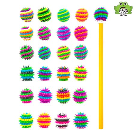 Frogsac Spikeez Spiky Silicone Pencil Topper Set of 24 Pieces - Spiral and Stripes - Great Party Favors